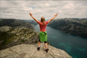 girl at top of mountain