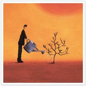 man waterring plant lead generation